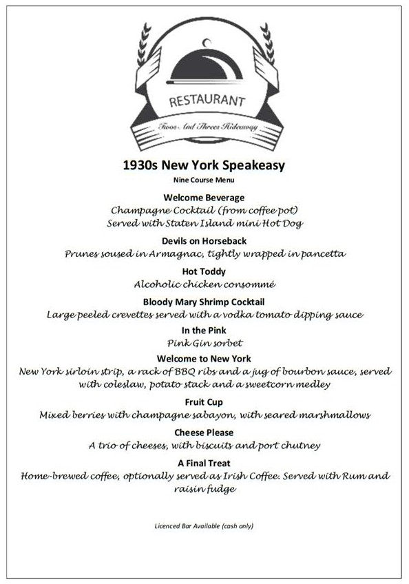 New York Prohibition Menu at Twos and Threes Hideaway